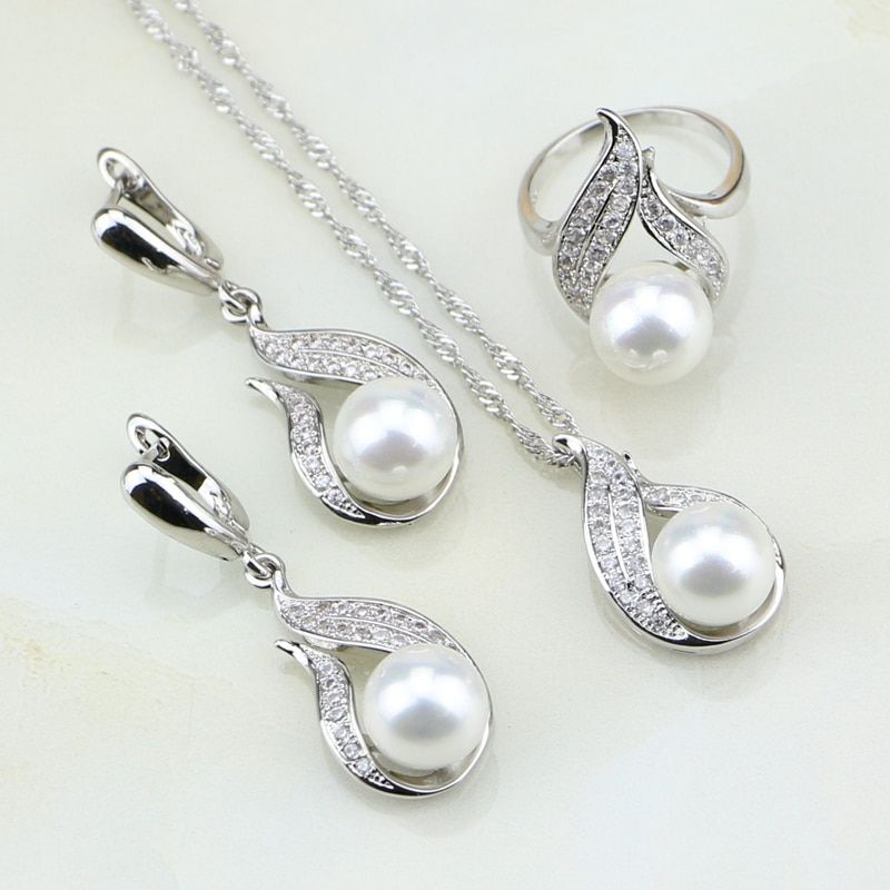 Fire 925 Silver Jewelry White Imitation Pearl Cubic <font><b>Zirconia</b></font> Jewelry Set Gift For Women Earrings/Ring/Pendant/Necklace Chain