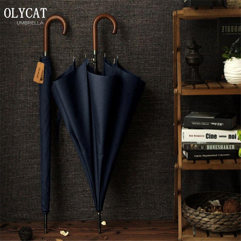 New Arrival OLYCAT Brand Long Umbrella 8K Windproof Wooden Handle Large Men Umbrellas Rain Quality Classic Business Paraguas