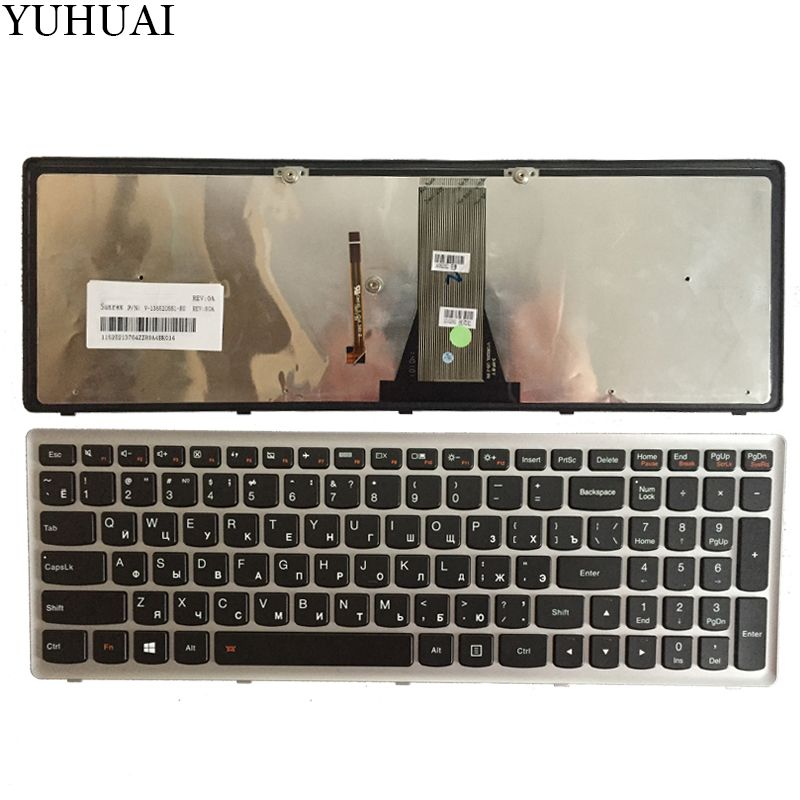 New Russian/RU laptop keyboard for Lenovo IdeaPad Flex 15 Flex15 G500S G505S S500 S510 S510P Z510 Silver-Grey frame with backlit