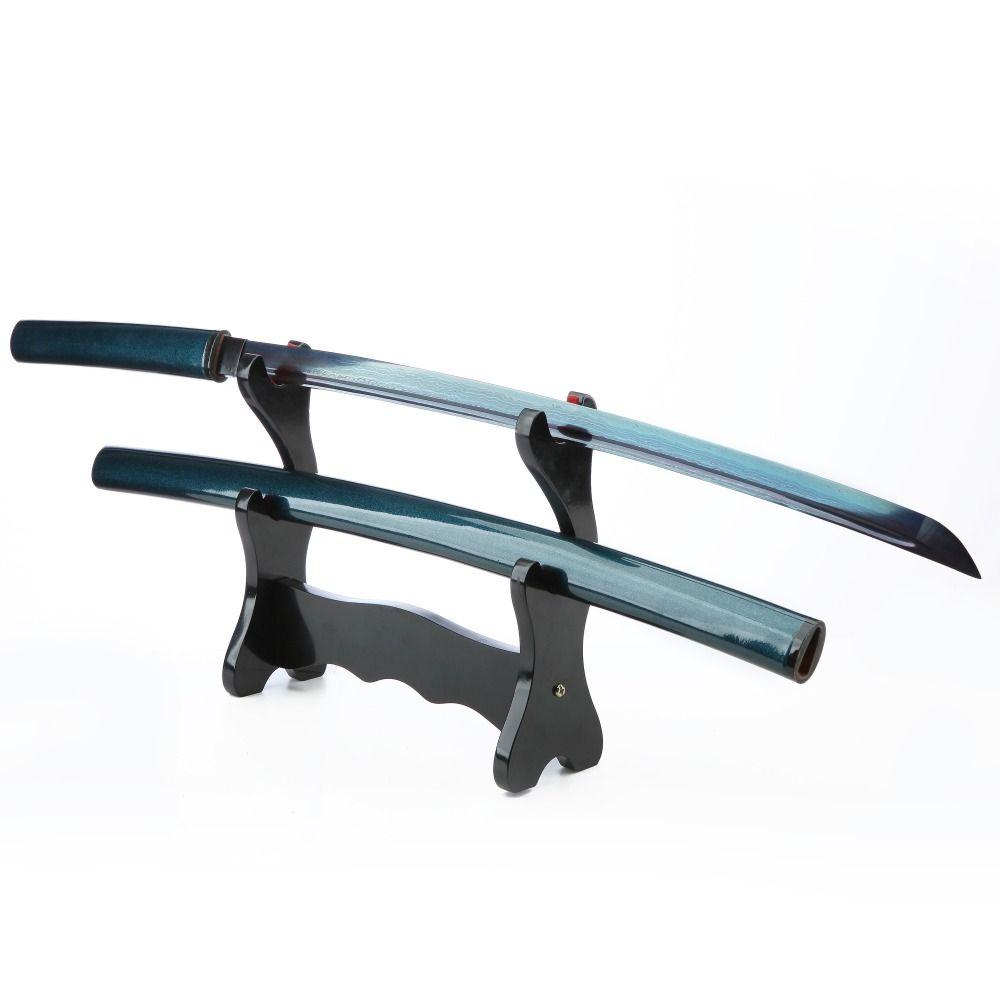 AUWIY-41 Blue Blade Japanese Katana Damascus Folded Steel With Special Treated Hard Wood Bull Horn Sheath Battle Ready Sword