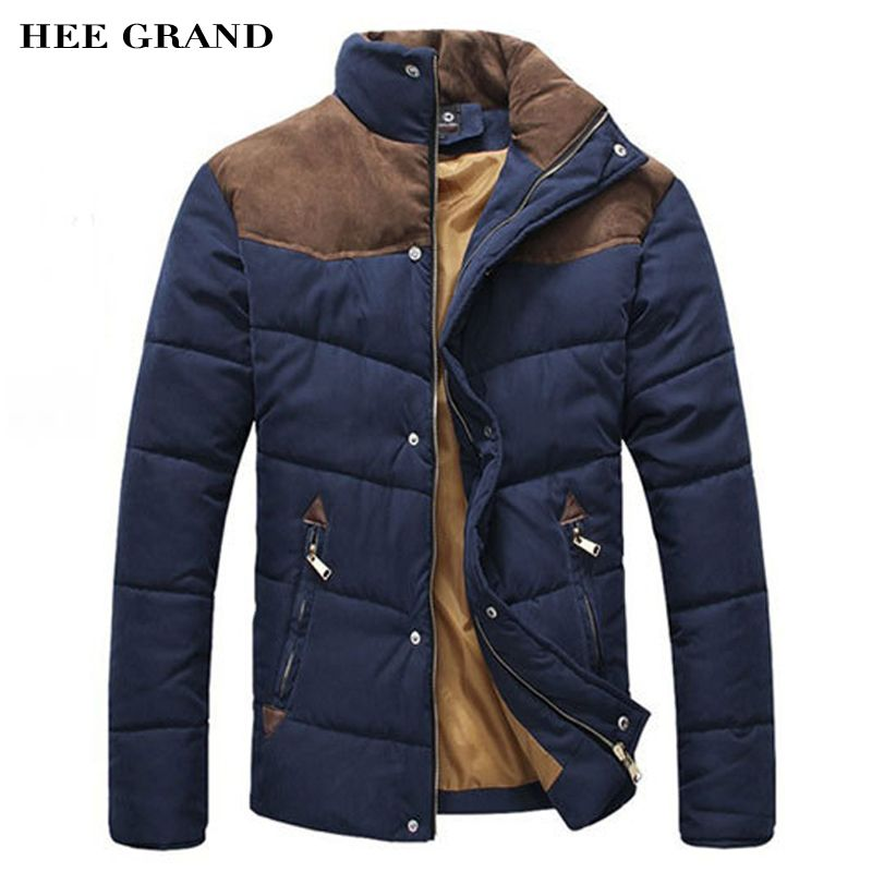 HEE GRAND 2017 Hot Sale Men Winter Splicing Cotton-Padded Coat Jacket Winter Size M-XXL Parkas High Quality MWM169