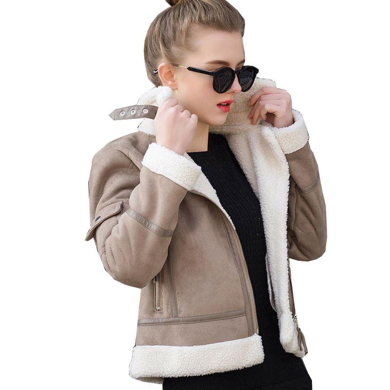2017 Shearling Sheepskin Coats Women Thick Suede Jackets Women Autumn Winter Lambs Wool Short Motorcycle Coats UV3001