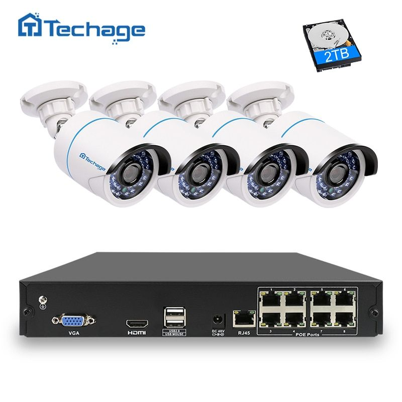 <font><b>Techage</b></font> 8CH 4CH 1080P IEEE802.3af POE NVR CCTV System 2MP Outdoor Waterproof Security IP Camera P2P Onvif Video Surveillance Kit