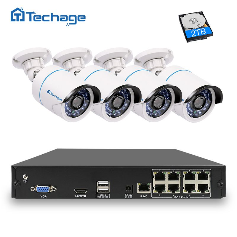 Techage 8CH 4CH 1080P IEEE802.3af 48V POE NVR CCTV System 2MP Outdoor Waterproof Security IP Camera P2P Video Surveillance Kit
