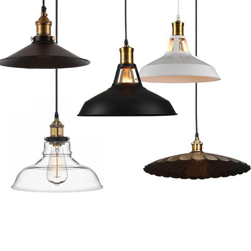 2017 industrie retro-stil LED pendelleuchte schwarz weiß Edison glühbirne pendelleuchte Hängeleuchte leuchten lampenschirm