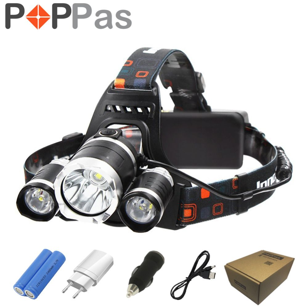 POPPAS LED Headlamp 10000LM XML-T6 Headlight Rechargeable Flashlight <font><b>Hunting</b></font> 18650 Battery Charger