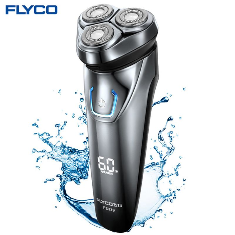 FLYCO Men's Electric Shaver Razor with 3D Floating Heads Men's shaving machine waterproof beard shaver Wireless use FS339