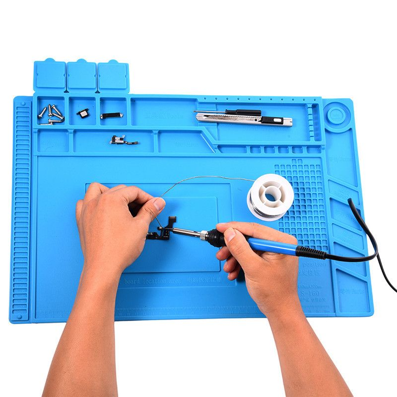 S-160 45x30cm Heat Insulation Silicone <font><b>Pad</b></font> Desk Mat Maintenance Platform For BGA Soldering Repair Station With Magnetic Section