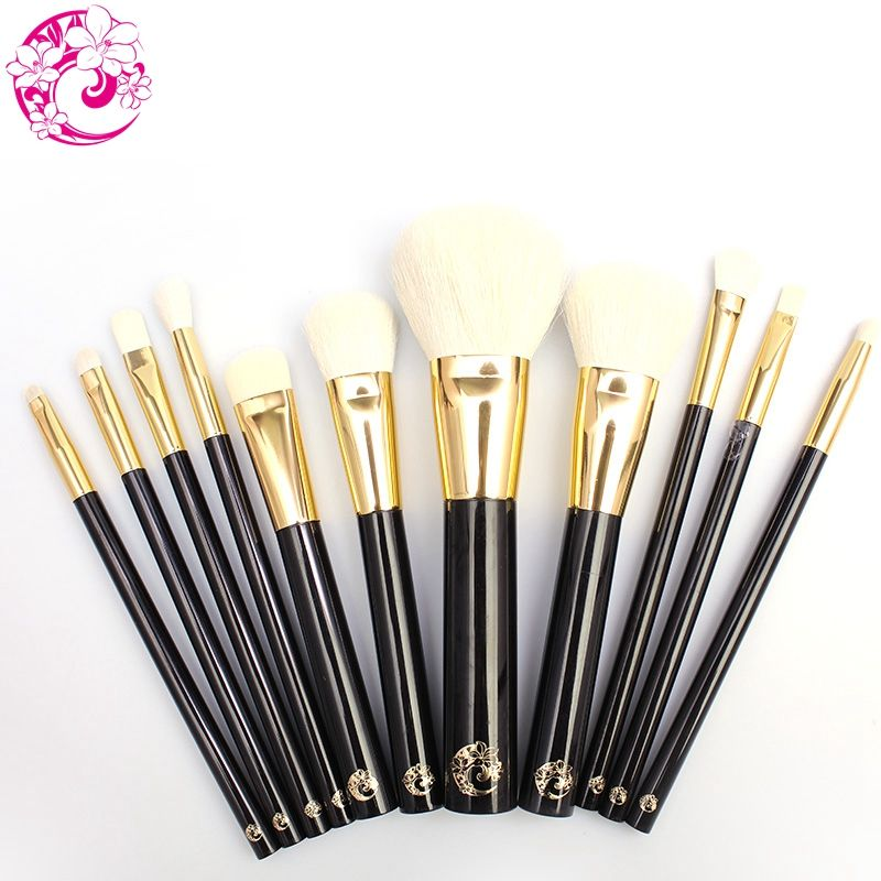 ENERGY Brand Professional 11pcs Makeup Goat Hair Brush Set Make Up Brushes +Bag Brochas Maquillaje Pinceaux Maquillage tf11