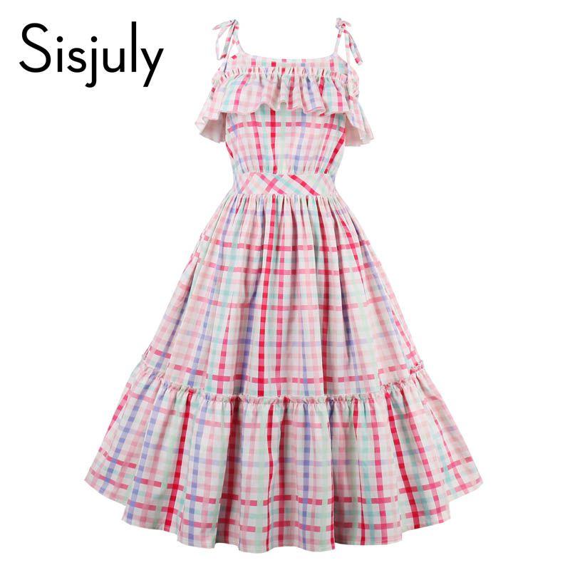 Sisjuly женщин старинные платья 1950 S Роскошный плед без рукавов Ретро Рюшами воротник платья летние женские разных цветов вечернее платье