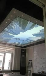 SV-1013 airplane flying between  skyscrapers PVC ceiling film overlook to sky stretch ceiling film decorative films