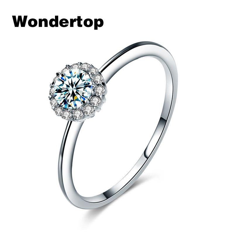 WONDERTOP Auténtica Plata de ley Solo Conciso Ronda Anillo con Cristal de Circón Cúbico para Las Mujeres Joyería de Moda Tamaño 6.7.8