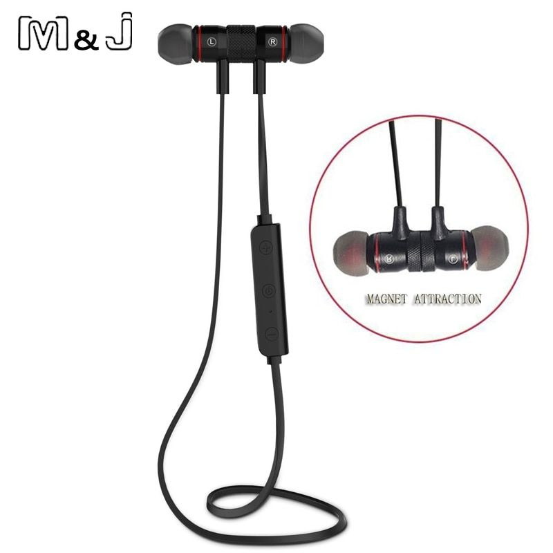 Bluetooth V4.1 Wireless Sport Running Earphone <font><b>Stereo</b></font> In-ear Magnet Earbud With Microphone Earphone For iphone Sumsang Xiaomi