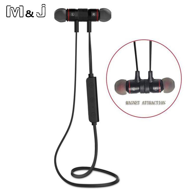 Bluetooth V4.1 sans fil Sport en cours d'exécution écouteur stéréo dans l'oreille aimant écouteurs avec Microphone écouteurs pour iphone Sumsang Xiaomi