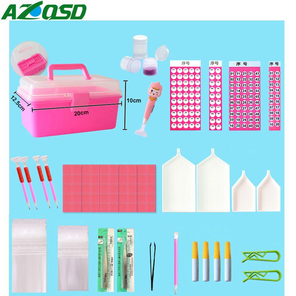 AZQSD Diamond Painting Tools Full Kits Diamond Painting Accessories Lichtbak Boxes Cross Stitch Complet Cases DIY 140pcs/set