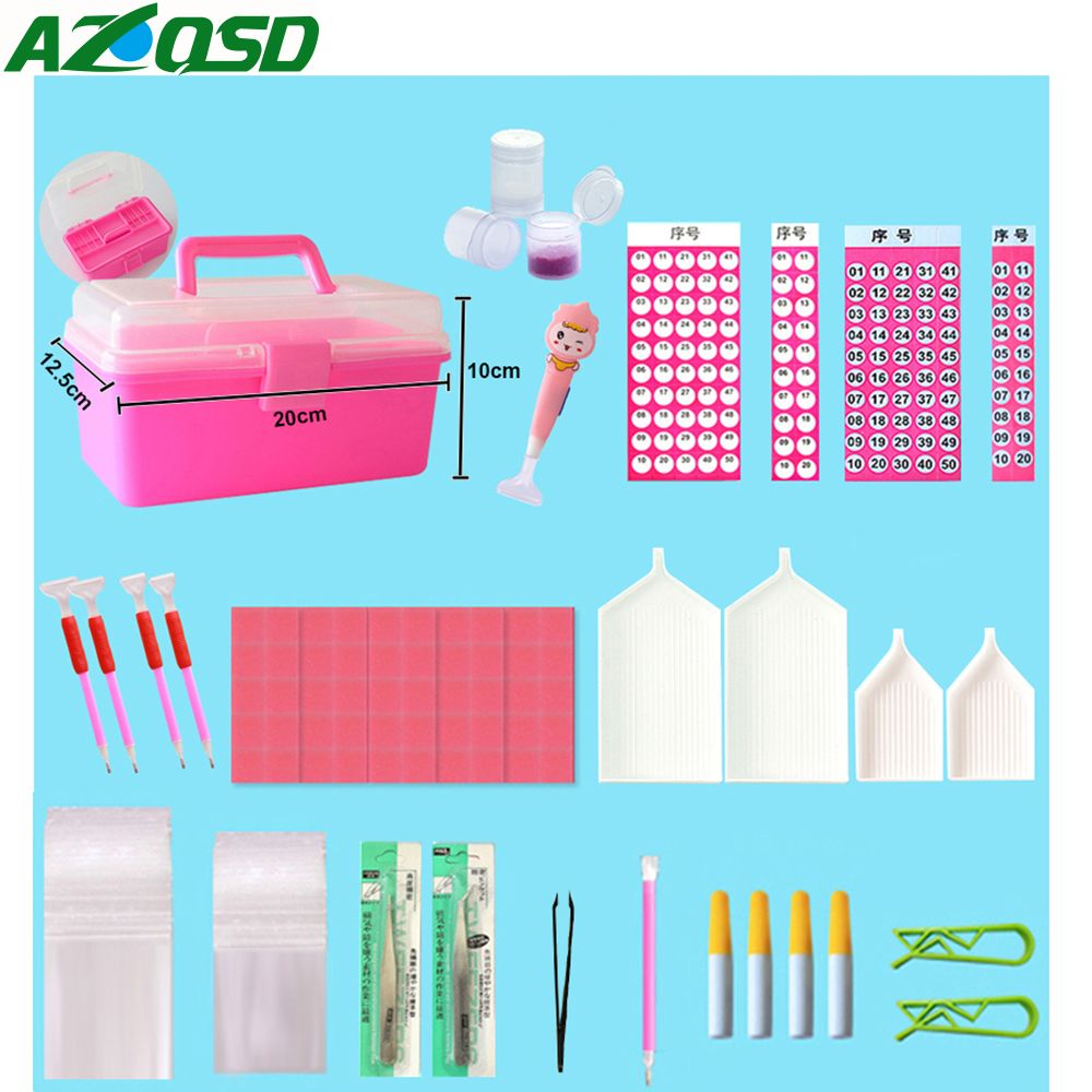 AZQSD Diamond Painting Tools Full Kits Diamond Painting Accessories Lichtbak Boxes Cross Stitch Complet Cases DIY 140pcs/set