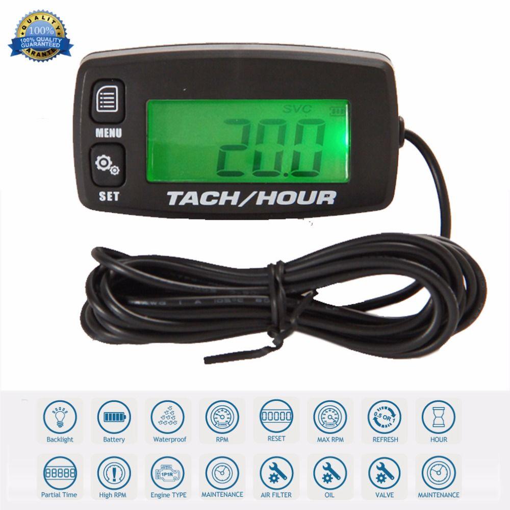 Digital Resettable Inductive Tacho Hour Meter Tachometer For Motorcycle Marine Boat ATV Snowmobile Generator Mower