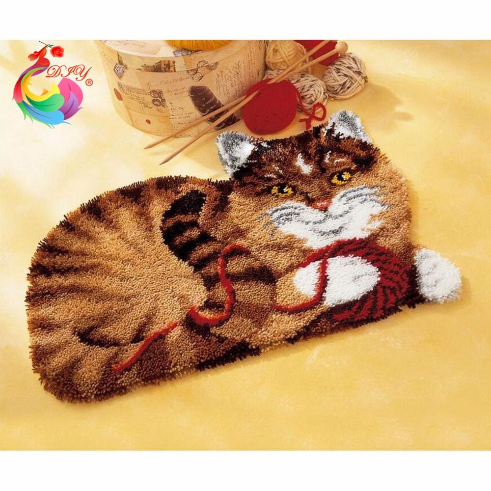 Crochet Tapis Kit Chat de Bande Dessinée broderie bricolage Sets de Couture BRICOLAGE Unfinished Crochet le Fil Tapis Loquet Kit Crochet de Tapis Tapis Image ensemble