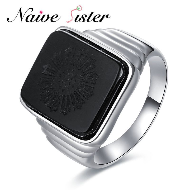 The Great Gatsby High Quality Men's Ring <font><b>Black</b></font> Onyx 925 Sterling Silver Ring Men's Jewelry Silver Color Charm Ring For Men