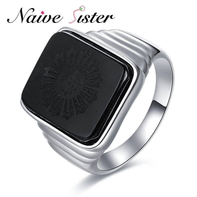 The Great Gatsby High Quality Men's Ring Black Onyx 925 Sterling Silver Ring Men's Jewelry Silver Color Charm Ring For Men