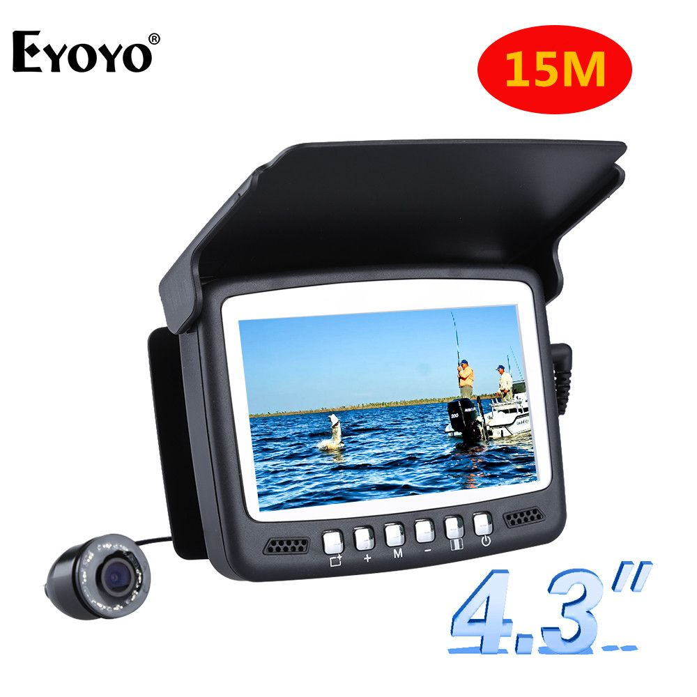 Eyoyo Original 15M 1000TVL Fish Finder Underwater Ice Fishing Camera 4.3 LCD Monitor <font><b>8PCS</b></font> LED Night Vision Camera For Fishing