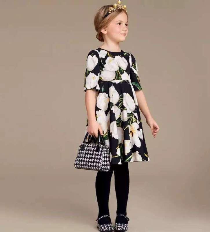 Girls Dress Long Sleeve 2016 Autumn Brand Princess Dress Floral Print Kids Dresses for Girls Clothes Christmas Children Dress