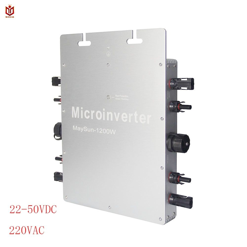 MAYLAR@ Waterproof WVC Maysun1200W 22-50VDC Solar on grid tie micro inverter with 4 MPPT Function 2 Meters Cable Solar Converter