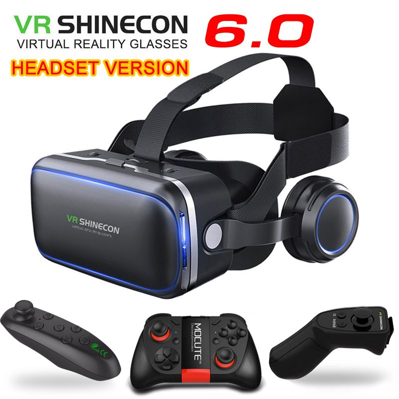 Original VR shinecon 6.0 headset version virtual reality glasses 3D glasses headset <font><b>helmets</b></font> smartphone Full package + controller