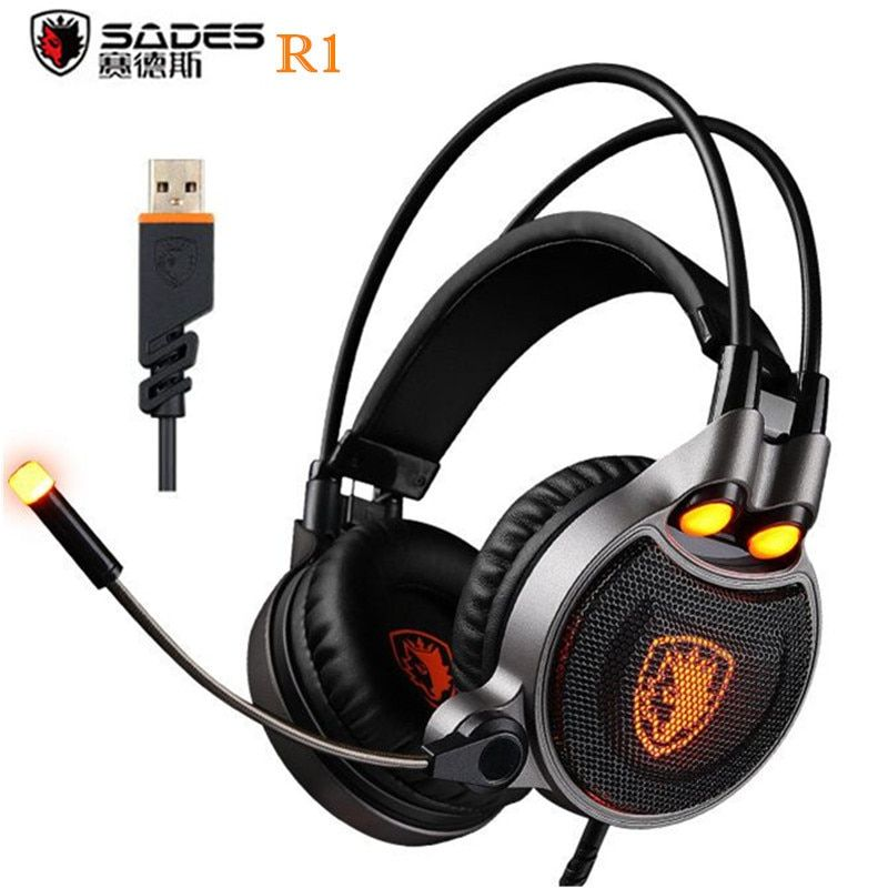 Sades R1 USB 7.1 Surround Stereo Sound Vibration Gaming Headphone With Microphone LED Light PC Gamer Gaming Headset for Computer