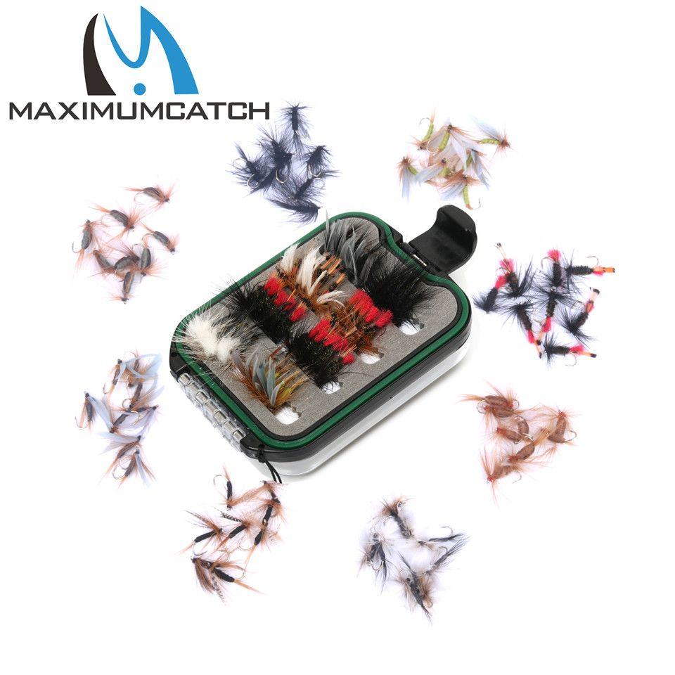 Maximumcatch mouche boîte de pêche avec 60 pièces mouche pêche mouches crochets étanche en plastique double longe latérale