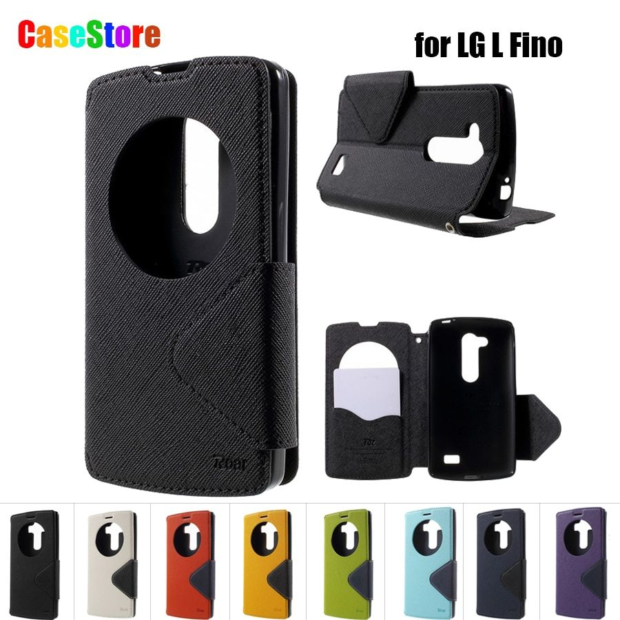 For LG D295 Case Roar Korea Quick Circle Window Flip Leather Kickstand Case Cover for LG L Fino D295 With Card Holder + Package