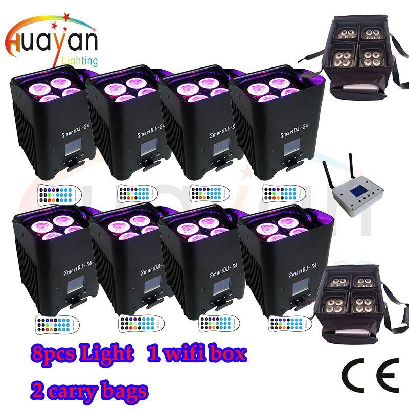 Kostenloser Versand: 8 stücke Schwarz Neue SmartDJ LED Flat Par mit Akku & Wireless Arbeiten Mit iOS, android System + 2 tragen Tasche + Wifi box