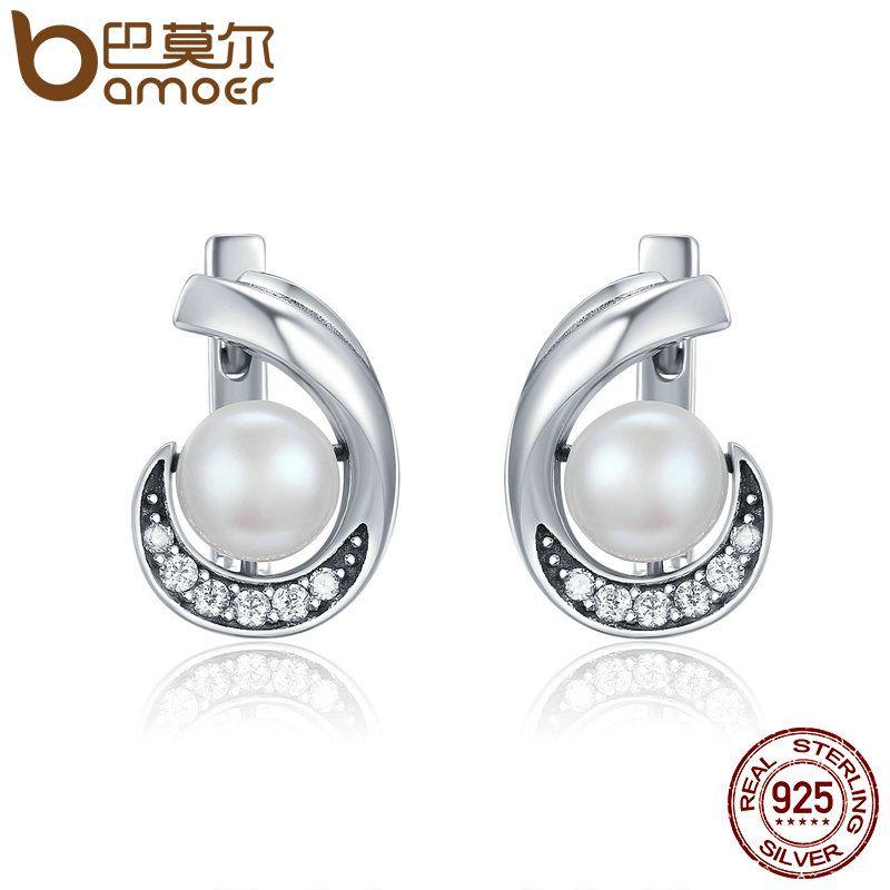 BAMOER Genuine 100% 925 Sterling Silver Glittering CZ Fashion Round Stud Earrings Women Sterling Silver Jewelry Brincos SCE192
