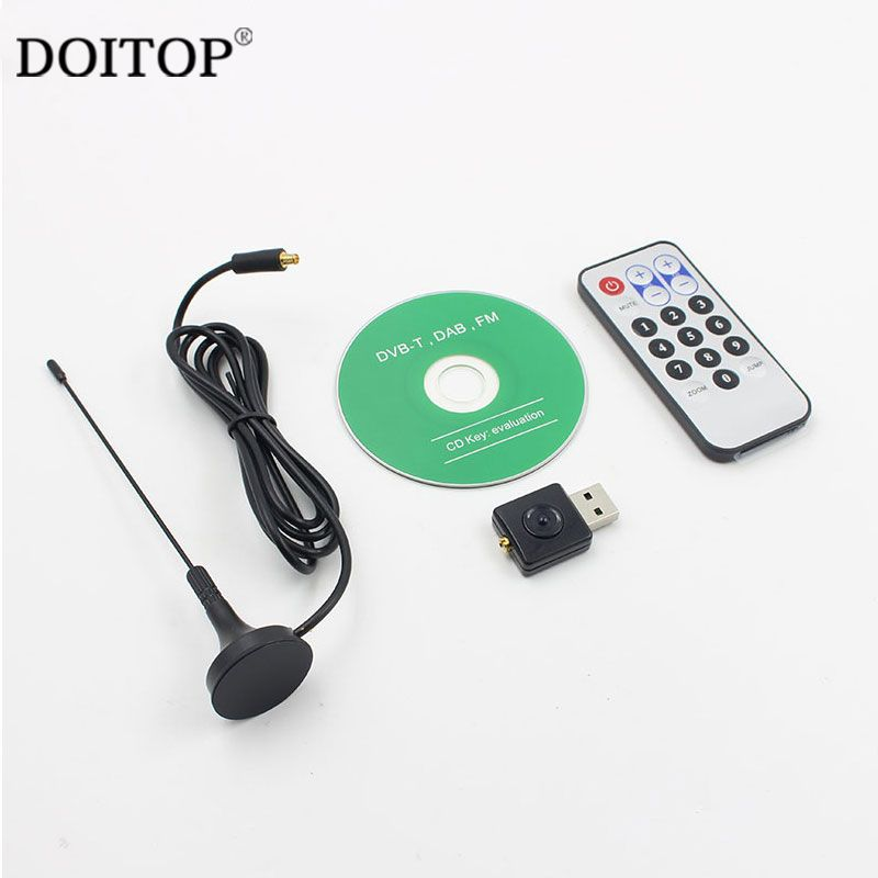 DOITOP DVB-T TV Tuner Receiver Digital USB TV FM+DAB DVB-T RTL2832U+R820T Support SDR ADS-B DVB-T HDTV TV Stick Dongle Receiver