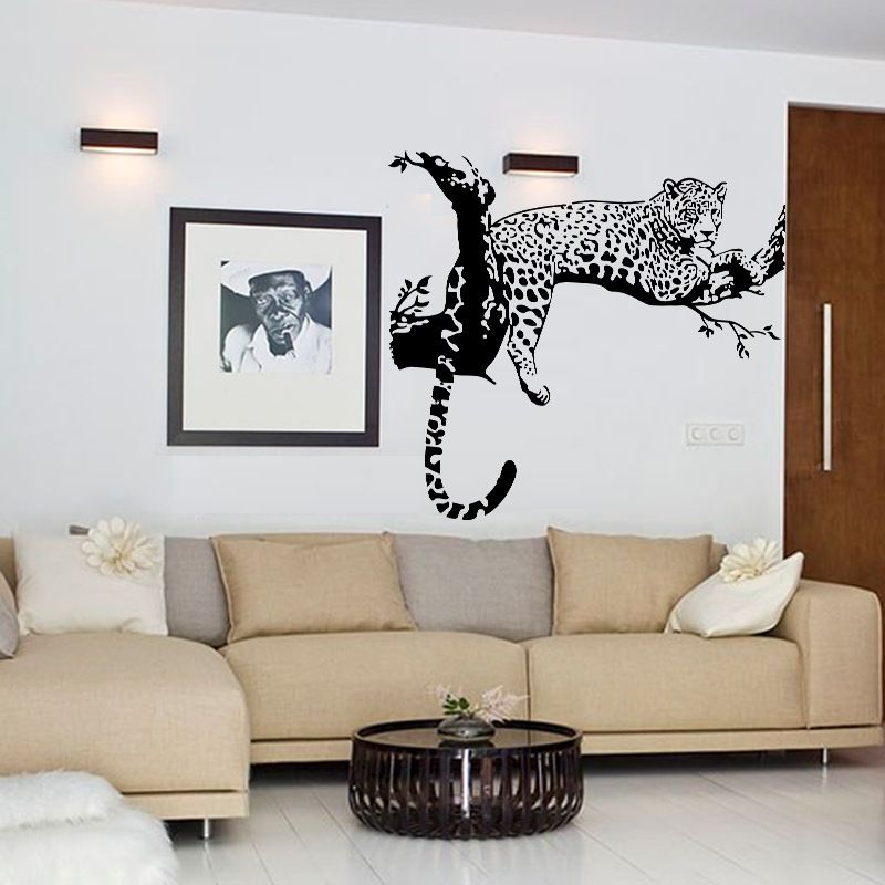 Noir Léopard Arbre Autocollant Chambre Salon Murs Stickers Muraux Home Decor Pegatinas De Pared Cuisine Réfrigérateur Aimants