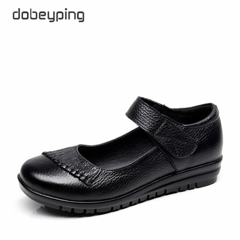 New Handmade Genuine Leather Women's Ballet Flat Shoes Female Casual Loafers Woman Comfortable Car-Styling Shoe Mom Walking Shoe