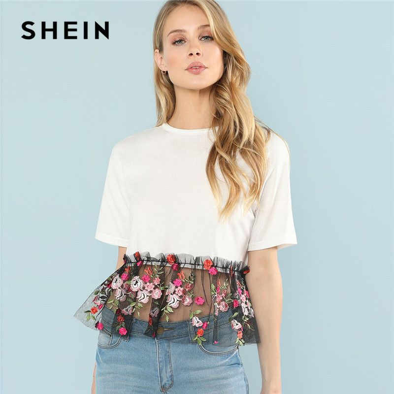 SHEIN Sexy White Floral Contrast Embroidery Casual T Shirt <font><b>Elegant</b></font> Contrast Mesh Summer Tops for Women 2018 Hem Tee
