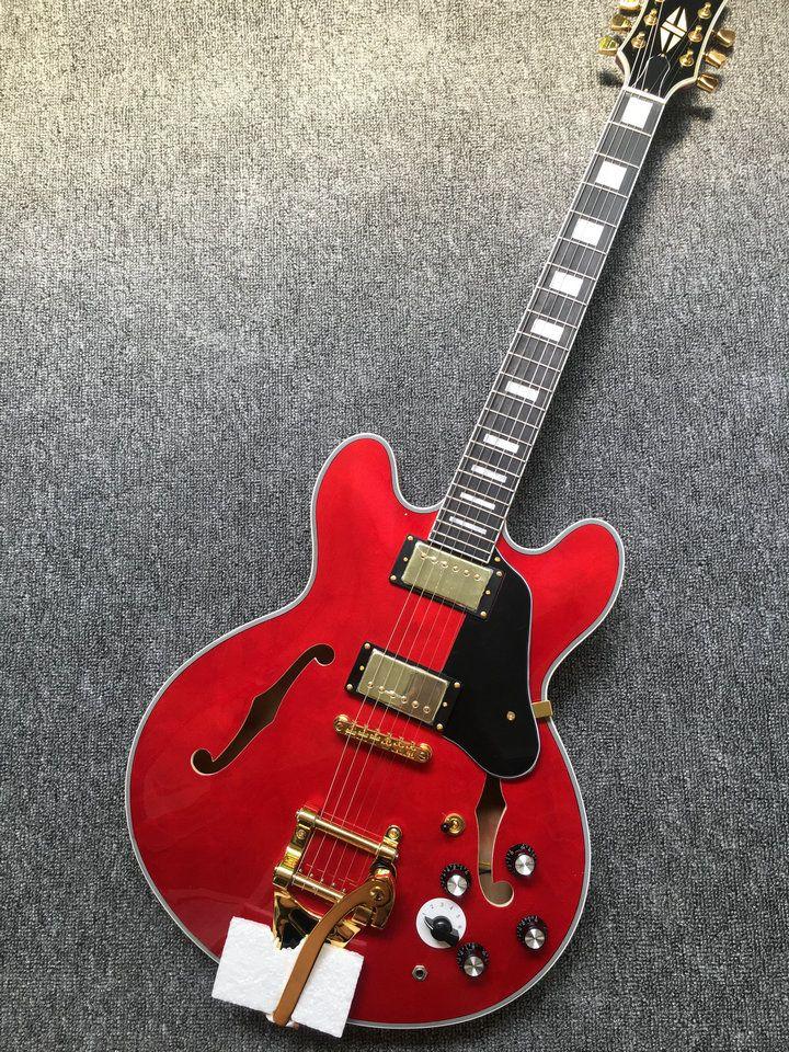 Neu! Classic Red ES 335 Jazz Gitarre bigsby tremolo elektrische Gitarre freies verschiffen