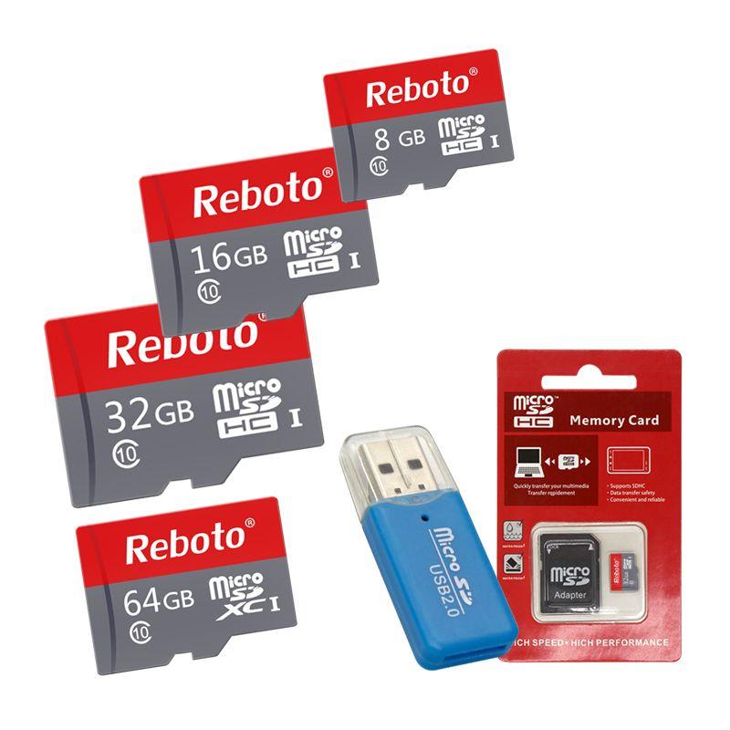 Reboto Micro SD Carte 8 GB 16 GB 32 GB 64 GB Carte Mémoire Classe 10 64 gb Rouge et Gris TF Carte pour Téléphone 8 gb Lecteur de Carte Gratuit