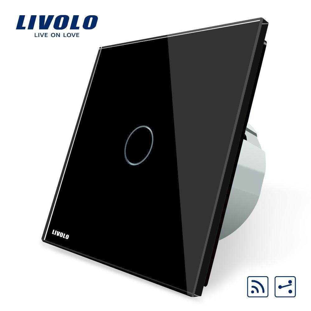 Livolo EU Standard 1 Gang 2 Way, Intermediate Remote Control Switch AC 220~250V,Black panel ,VL-C701SR-12,No remote controller