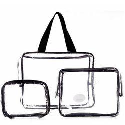 3 Pcs/set Tahan Air Transparan Tas Kosmetik Wanita Portabel Perlengkapan Mandi Kit Organizer Kosmetik Merek Make Up Tas Necessair