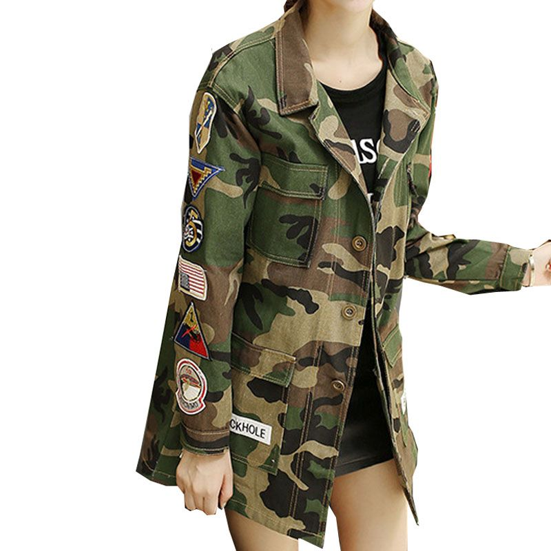 New Women Autumn Winter Camouflage BF Camo Jacket female Military Fatigues Restoring Pockets Army Green Jacket top 2018 Y1126