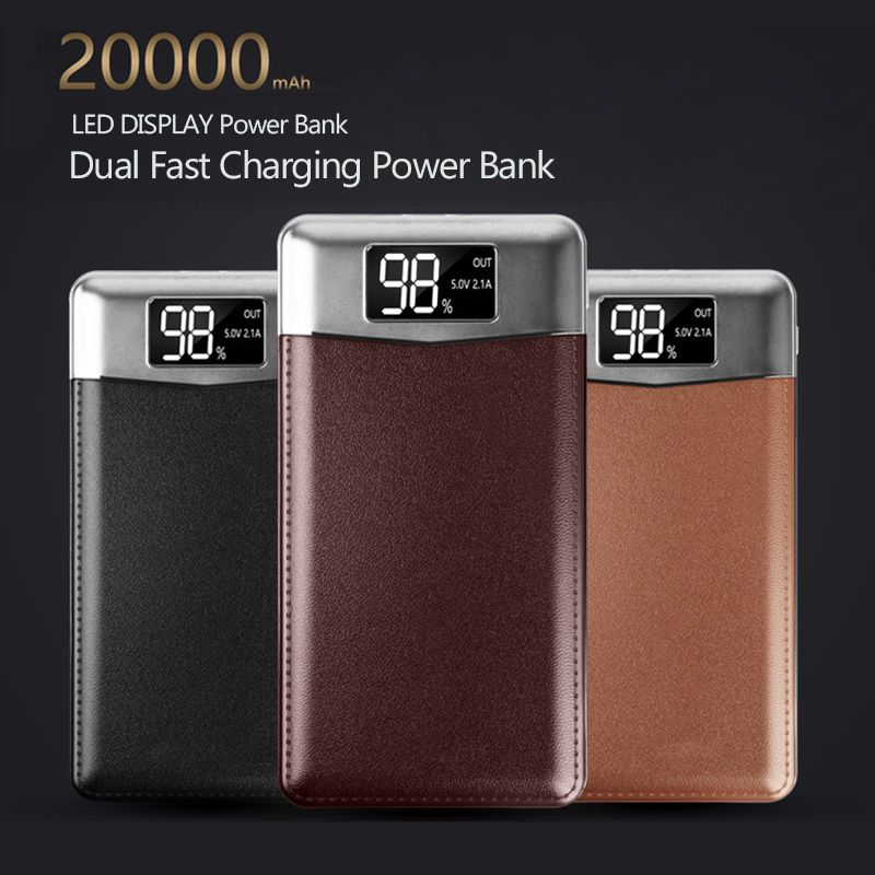 Slim 20000 mAh Power Bank Portable Ultra-thin Polymer Powerbank battery power-bank 20000mah With Dual LED Light for Mobile Phone