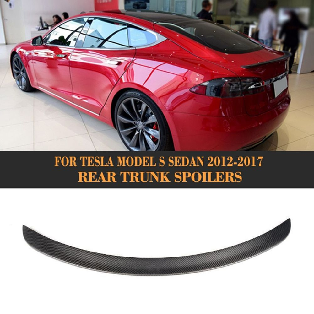 Matt Gloss Carbon Fiber Rear Trunk Wing Spoiler for Tesla Model S Sedan 60 70 75 85 90 D P85D P90D P100D 2012-2017