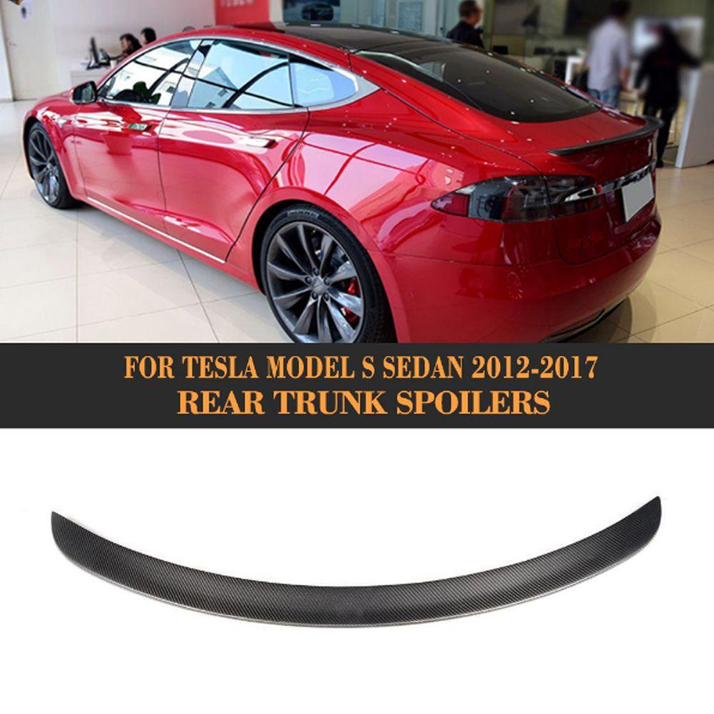 Rear Trunk Wing Spoiler for Tesla Model S Sedan 60 70 75 85 90 D P85D P90D P100D 2012-2017 Matt Gloss Carbon Fiber Boot Spoiler