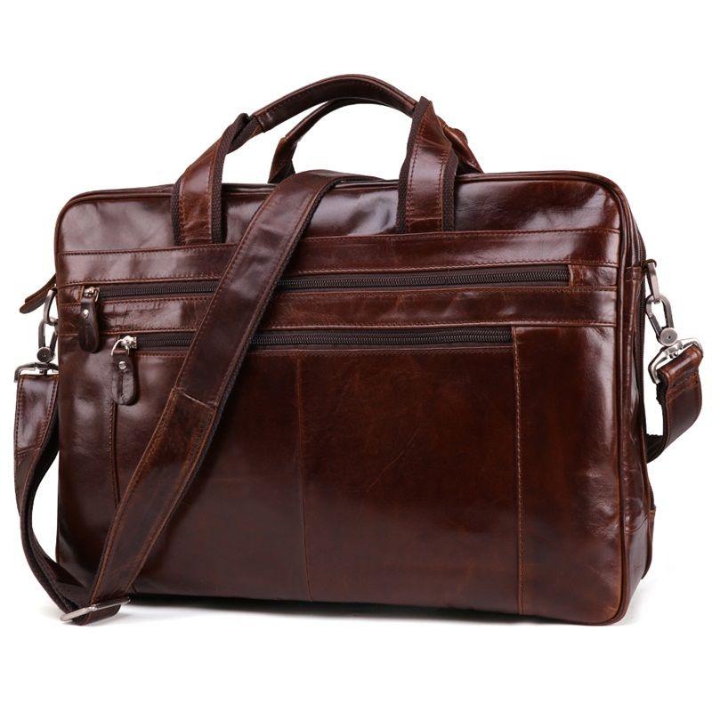 Vintage Echtem Leder Männer Aktentaschen 15,6 Laptop Taschen Handtasche Business Casual männer Schulter Tasche Reise Umhängetasche