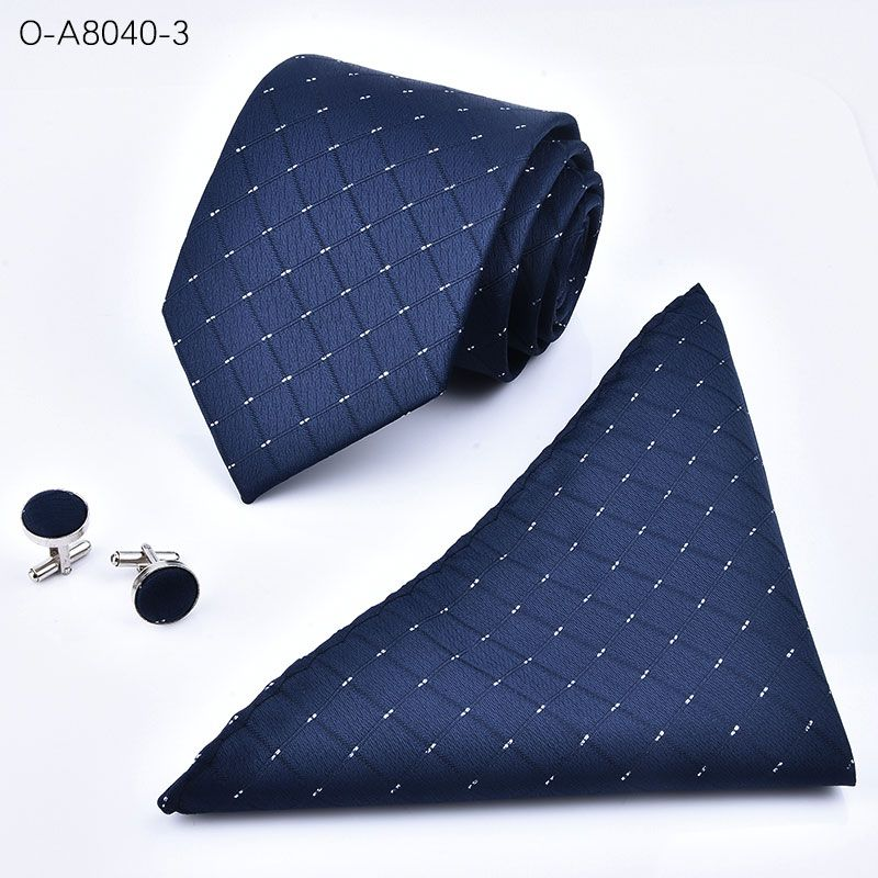 Necktie High Quality 8cm Men's ties for suit business wedding Casual Black Red Tie handkerchief Cufflinks suit blue tie set