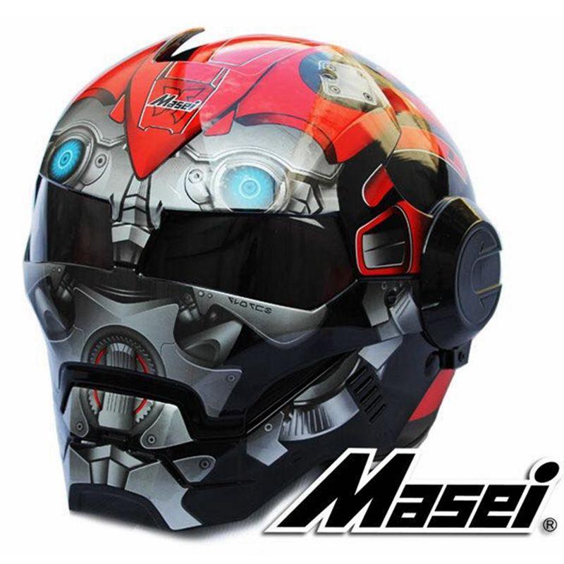 2017 Red Bumblebee MASEI 610 IRONMAN Iron Man helmet motorcycle helmet half helmet open face helmet casque motocross S M L XL