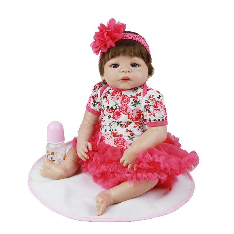 Kids Best Playmate 23 Inch Lifelike Newborn Girl Dolls Full Silicone Vinyl Alive Dolls With Synthetic Hair Boneca Menina Toy