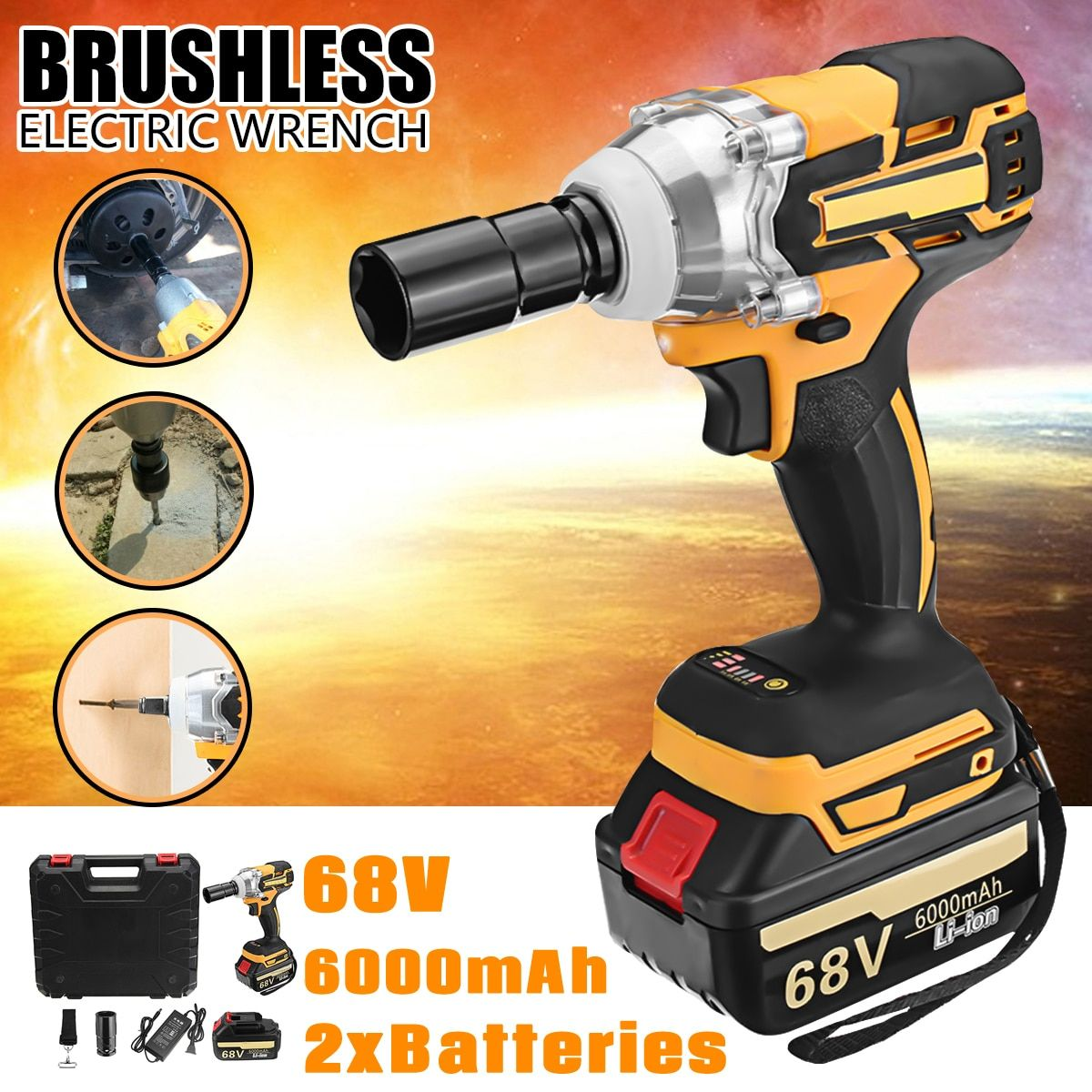 Doersupp 1Pcs 68V 6000mAh Electric Wrench 2 Batteries 1 Charger Brushless Cordless Drive 380 N.M Electric Wrench Power Tools